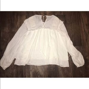 New hd in Paris tie back long sleeve blouse white